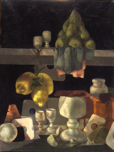 Shelf with Lemons, Chalice, and Pears