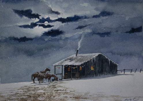 Horses and House at Night